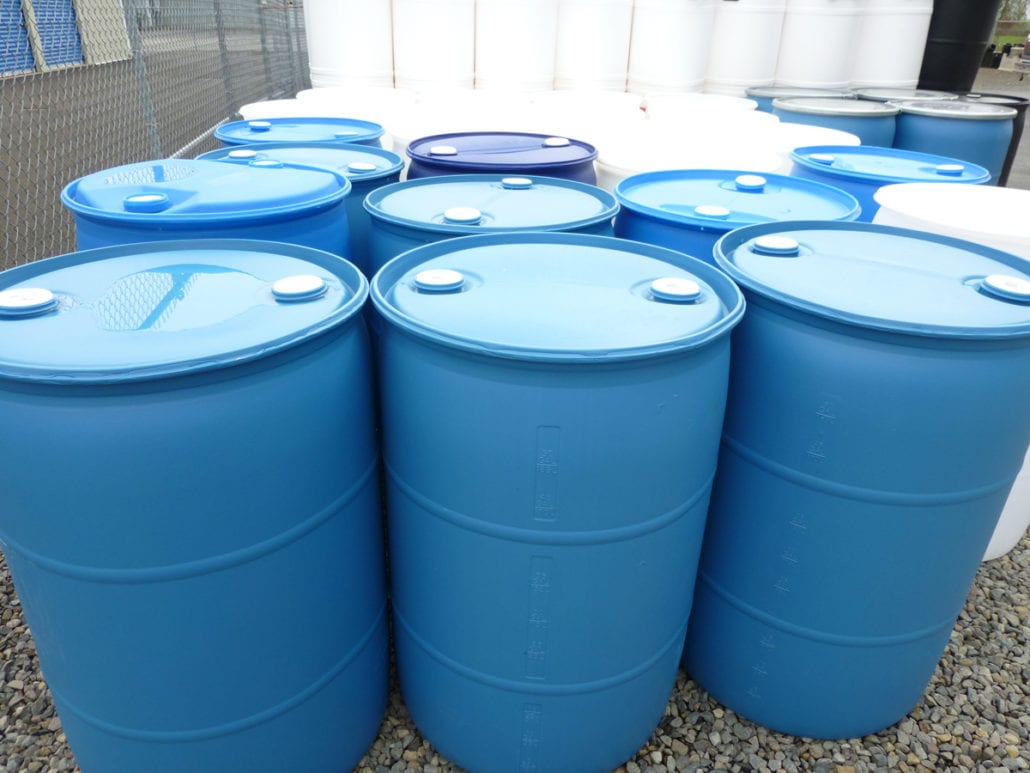 55 Gallon Blue Or White Bung Top Plastic Barrels Liquid Only 25 00